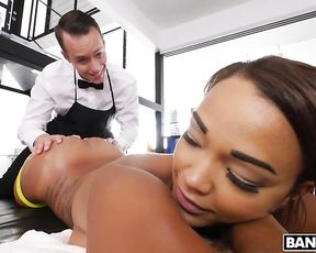 Butler relaxes naked black mistress with massage and nice cunnilingus