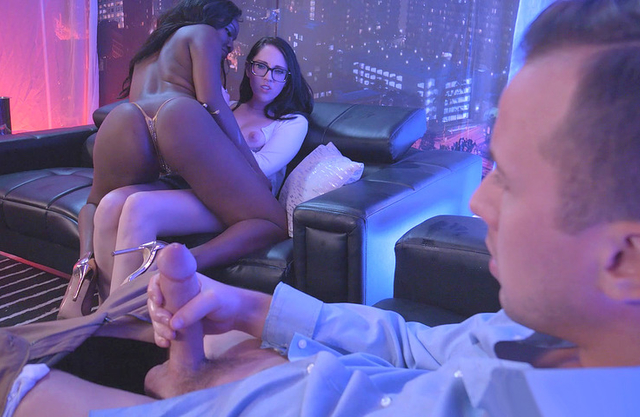 Man watches naked black strip dancer having fun with his modest wife