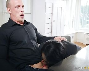 Dirty black realtor pulls out naked boobs and starts to blow client