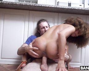 Curly-haired Ebony babe rides manhood of roommate's BF fully naked