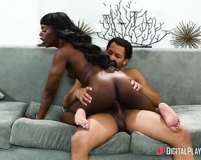 Naked body of Ebony young woman jumps up and down on erect dick