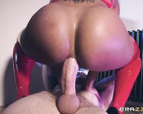 Black female in vinyl red bra and stockings and with naked rear rides dick