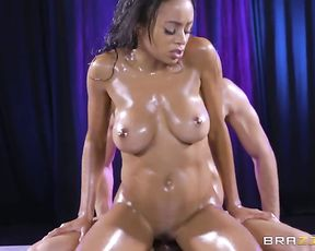 Natural-boobied Ebony love gets off on naked cock thrusting in pussy