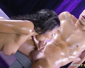 Butt naked Ebony girl adores nothing better than hard cock in her mouth