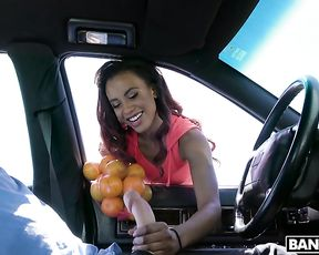 There's nobody around just driver and Ebony road slut sucking his naked dick