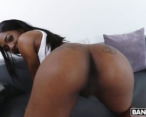Sexy babe with naked booty and black student develop kissing skills