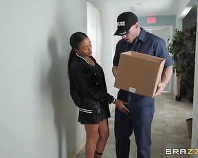 Ebony chick doesn't want cop to open the box and sucks his naked dick
