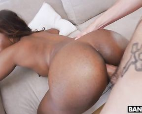 Ebony girl changes position and naked cock drills her pussy from behind