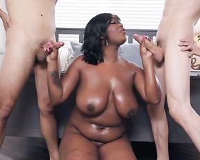 Boys stay naked near black BBW hottie who gags on their meatsticks