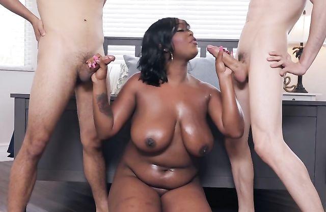 Boys stay naked near black BBW hottie who gags on their meatsticks