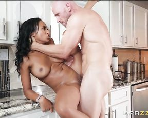 Bald man actively copulates with naked black neighbor in the kitchen