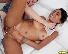 Skillful buddy screws naked pussy of Ebony mistress in spoon pose