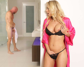 He fucked his friend`s hot blonde girlfriend in the bathroom after she saw how big his dick was