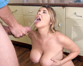 Sexy naked girl gets facialed by the monster cock