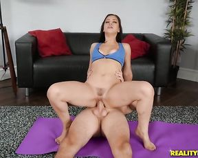 Brunette naked girl gets fucked in reverse cowgirl pose