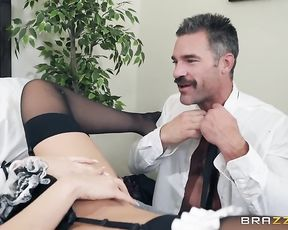 Sexy naked maid gets pussy licked by her boss