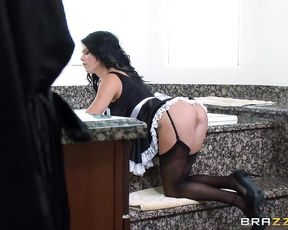 Woman of the house is ready to try oral banging with naked maid and husband