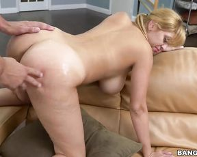 Girl with blonde hair works as maid and sometimes gets naked to be fucked