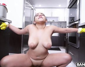 Thoughtful boy hired maid not for cleaning only but for naked sex as well