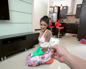 Handsome man gives Latina maid money to get naked while cleaning up