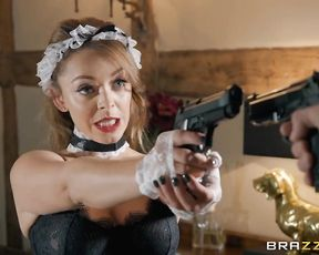 Maid looks naked so she puts a gun in master's face and takes his one in mouth