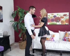 Naked guy offers blonde maid a day off is she agrees to suck and fuck