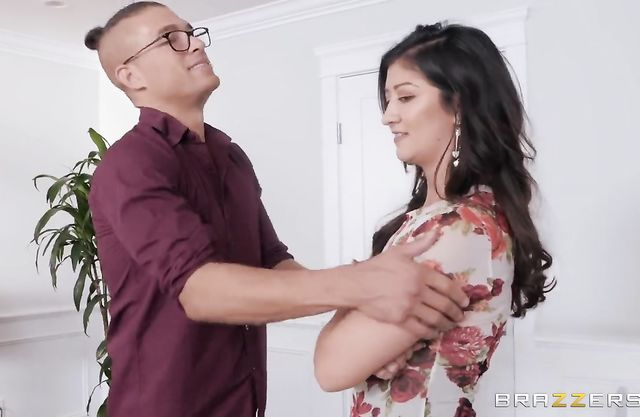 Young man with glasses leaves maid in bedroom and cheats with naked MILF