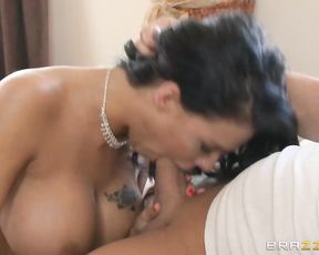 Guy unzips pants and hot maid with sizable naked tits gives him a head
