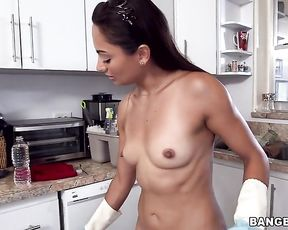 Latina maid with tattooed naked back can't complain about her job