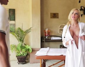 Maid brings masseur to blonde woman and guy takes care of her naked body
