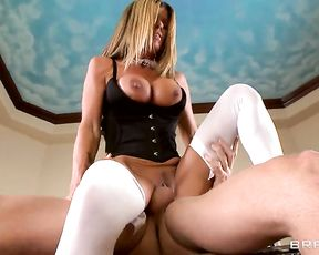 Whorish maid with hefty naked breasts rides boss' cock with pleasure