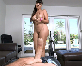 Hot Latina maid vacuums the floor then blows naked dick on camera