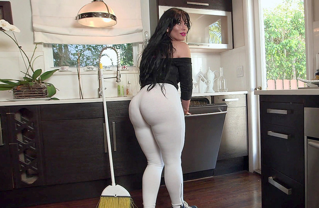 Latina maid isn't naked but leggings can't hide her gigantic butt