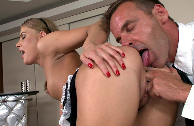 Excited man uses fingers to prepare maid's naked ass for anal fuck