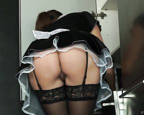 Guy decides to fuck pin up maid with nice naked ass in the kitchen