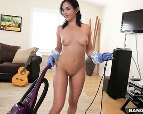 Rich guy convinces splendid maid to show naked body and clean the house