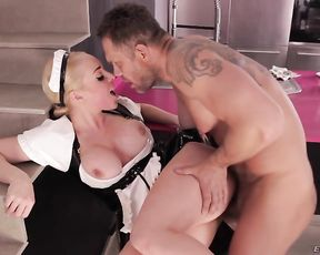 Busty maid wears no panties and naked man can't resist fucking her