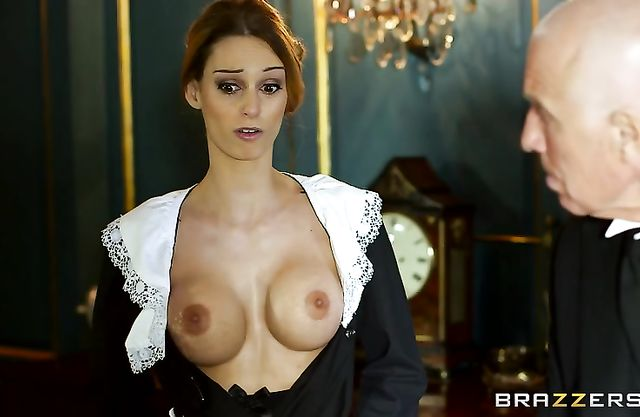 Maid's uniform is so tight that she unbuttons it revealing naked tits