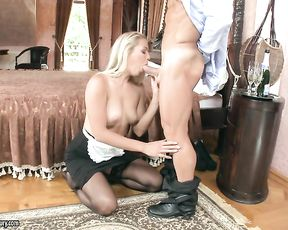Winsome maid wants extra cash and kneels to suck boss' naked cock