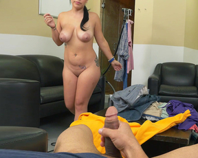 Smart Latina maid is naked and eager to give master well-done blowjob