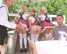 Three sexy maids flash naked asses and guy has to choose one of them