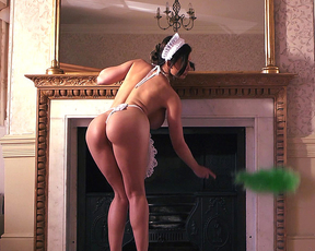 Busty maid cleans room absolutely naked thus making man very horny