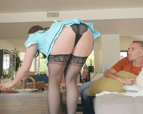 Beautiful maid teases client's perv husband with her sexy naked booty