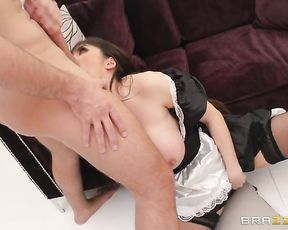 Spoiled rich brat let maid with naked jugs polish his hard phallus