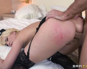 Annoyed client hardly assfucks naked blonde maid in bed from behind