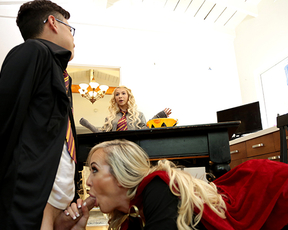 The Boy Wizard fucks a young naked girl and her busty stepmom