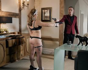 Agent dressed like maid tries to distract enemy with her naked body
