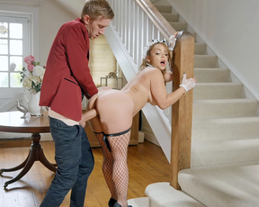 Man with huge penis passionately nails naked maid in several poses