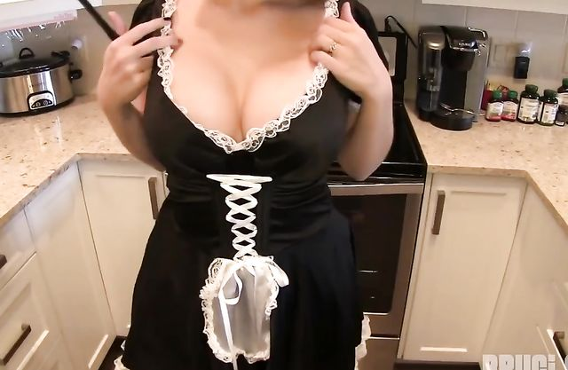 Cameraman distracts maid from doing chores only to touch her naked tits
