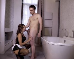 Man finds half naked maid horny and feels obliged to satisfy her orally